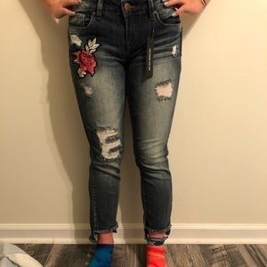 DOLLHOUSE DARKWASH JEANS WITH PATCHES